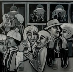 Altstadtkneipe, 100 x 100 cm, © Anja Hühn 2017