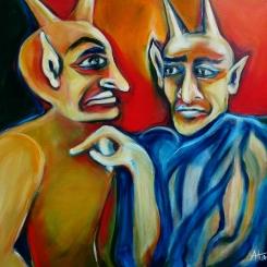 Der Teufel und sein Lehrling, 70 x 70 cm, © Anja Hühn 2016
