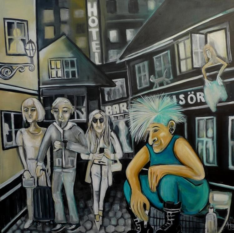 """""""Altstadtleben"""" Acryl auf LW, 100 x 100 cm, © Anja Hühn 2015"""