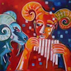 Aries und Pan, 80 x 80 cm,© Anja Hühn 2012