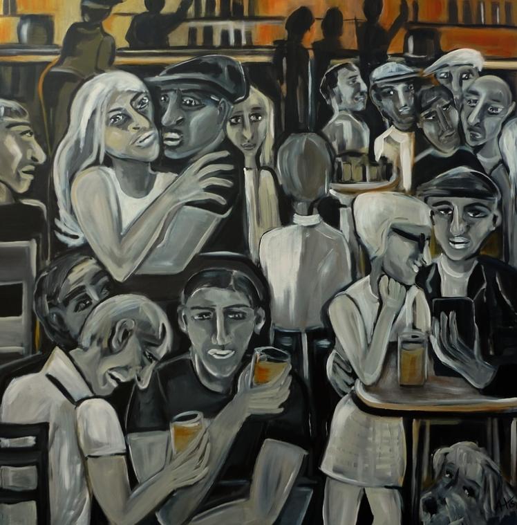 """Feierabend"" Acryl auf LW, 100 x 100 cm, © Anja Hühn 2015"