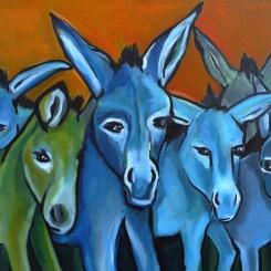 Stall voller Esel 2 (unverkäuflich), 70 x 50 cm, © Anja Hühn 2017