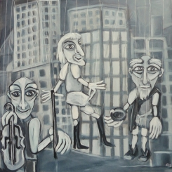 Marionetten, 60 x 60 cm, © Anja Hühn 2015