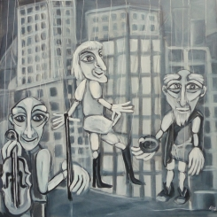 Marionetten (unverkäuflich), 60 x 60 cm, © Anja Hühn 2015