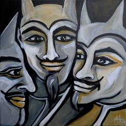 3 Teufelchen - Acryl auf LW, 30 x 30 cm - © Anja Hühn 2018