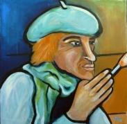 Der Maler (Serie Kulturvernetzung) - Acryl auf LW, 50 x 50 cm - © Anja Hühn 2018