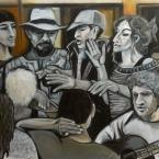 """""""Eine musikalische Begegnung"""" - Acryl auf LW, 120 x 100 cm - © Anja Hühn 2018"""