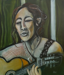 """""""musikalische Begegnung - die Sängerin"""" Acryl auf LW, 60 x 70 cm - © Anja Hühn 2018"""