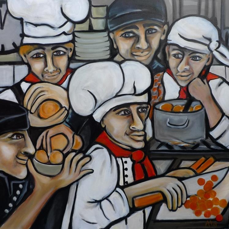knödelbäcker - acryl auf lw, 80 x 80 cm - © anja hühn 2019