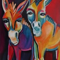 Lotta und Luise - Acryl auf LW, 50 x 70 cm - © Anja Hühn 2019