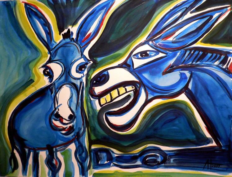blaue Esel