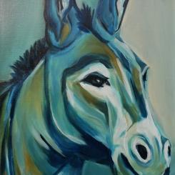 Esel ODIN - Acryl auf LW, 42 x 56 cm - © Anja Hühn 2020