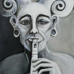 Faun Tetulus - Acryl auf LW - 50 x 70 cm - © Anja Hühn 2021